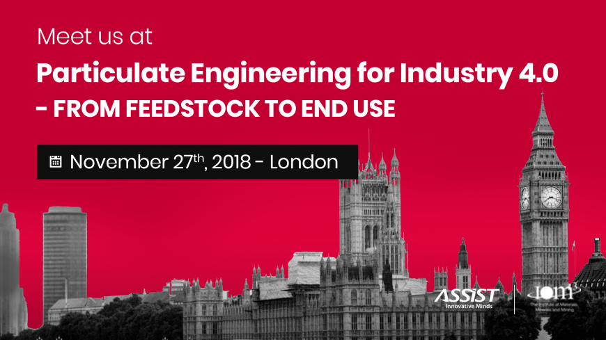 ASSIST Software present at the Particulate Engineering for Industry 4.0 seminar in London - Book a meeting with our team at hello@assist.ro