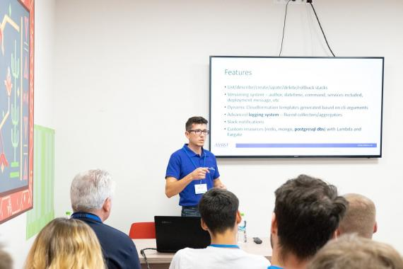 ASSIST Software representative sustaining a presentation at Codecamp